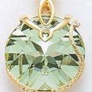 Large Swarovski Round Crystal Pendant, Gold Finish
