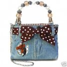Denim Purse with Horse & Horseshoe Embroidered