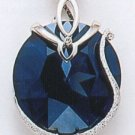 Swarovski Crystal Pendant, Navy Blue Platinum Finish
