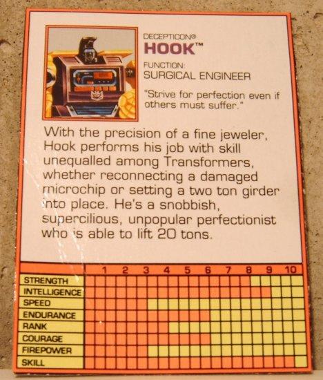 Transformers Generation 2 Hook tec specs
