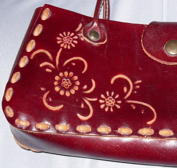 Pretty Western Tooled Leaher Purse / Handbag Brown Tan