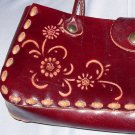 Pretty Western Tooled Leaher Purse / Handbag Brown Tan