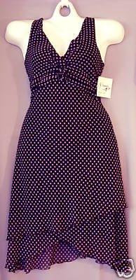 Chiffon Dress - Black w/Pink Dots - Sz 12