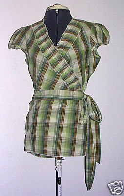 Pretty Green Plaid Cotton Wrap Shirt Sz. L