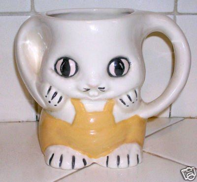 Bunny Mug with Yellow Overalls Hand made - Super Cute