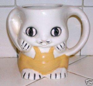 Bunny Mug with Yellow Overalls Hand made - Super Cute