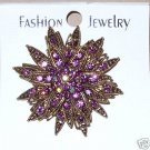 Rhinestone Amethyst Colored Vintage Look Brooch / Pin