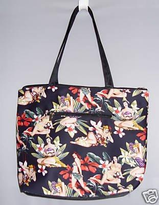 Black Pin Up Vintage StyleTropical Floral Tote Bag