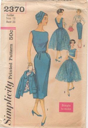 Vintage Simplicity Dress Pattern - 1950s - 2370