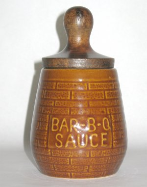 Vintage Barbecue Sauce Jar w/Brush - BBQ Collectible