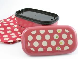 Pink Tenmari Polka Dot Flower Bento Box