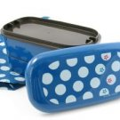 Blue Tenmari Polka Dot Flower Bento Box