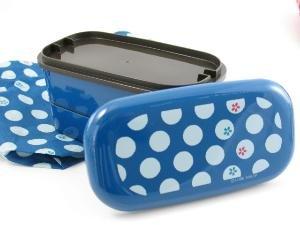 Blue Tenmari Polka Dot Flower Bento Box