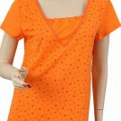 Women's Plus Size Orange w/ Red Stars Top 2X