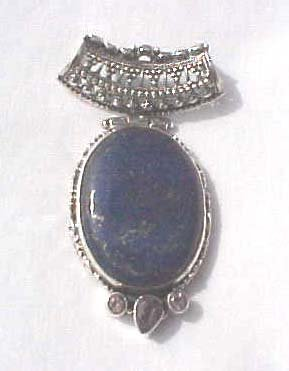 .925 Sterling Silver Pendant Lapis Amethyst