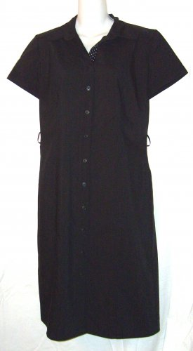 Ann Taylor Stretch Black S.S Shirt Style Dress Size 8