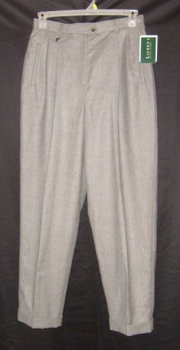 Lauren Ralph Lauren Gray Cuffed Pants / Slacks Sz 12 NWT