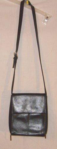 Nine West Black Leather Messenger Style Handbag