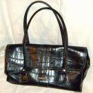 Liz Claiborne Lg Black Mock Croc Handbag Satchel