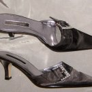 Westies Black Satin Mules w/ Rhinestone Buckle Sz 6 M