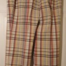 Madison Studio Plaid Tan Safari Capri Pants Sz 8 NWT