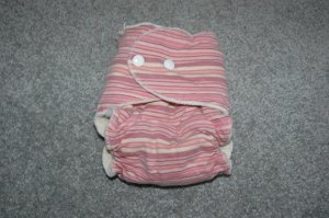 Fitted Cloth Diaper - Medium - Pink Stripes