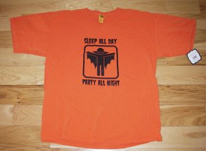 NEW Men's Large- Halloween Tshirt Tee (Sleep all day, party all night)