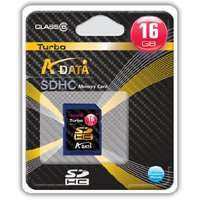 A-Data Turbo Series SDHC Class 6 Secure Digital Flash Memory Card 16GB