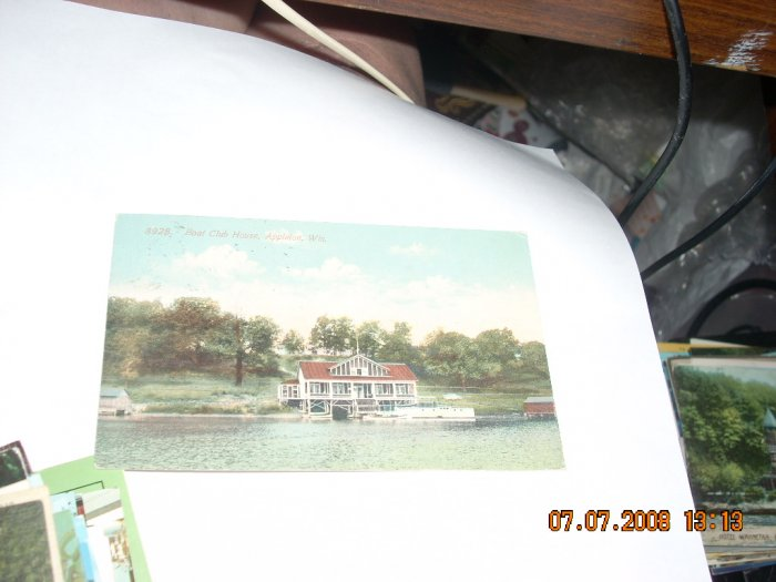 vintage postcard boat clubhouse appleton wisconsin