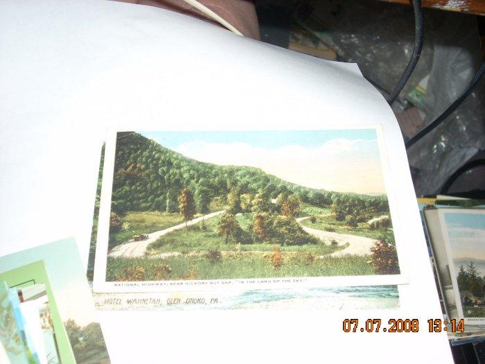 vintage postcard  national highway hickory nut gap