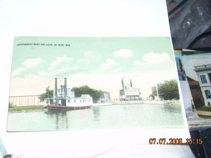 vintage postcard govt boat and lock de pere wisconsin