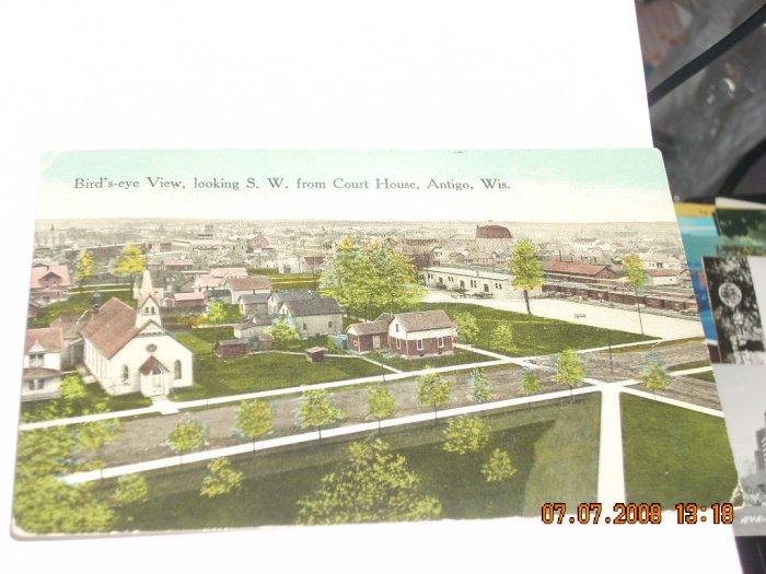 vintage postcard outside view from courthouse antigo wisconsin