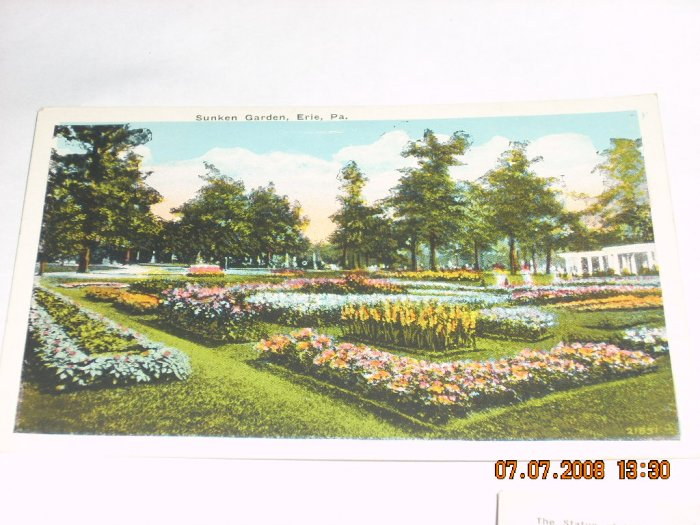 sunken garden erie pennsylvania vintage postcard