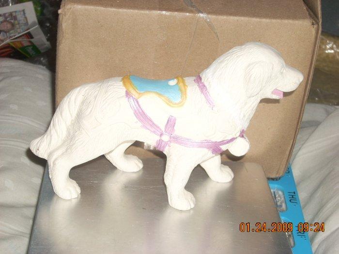 ceramic st bernard carousel animal with pole