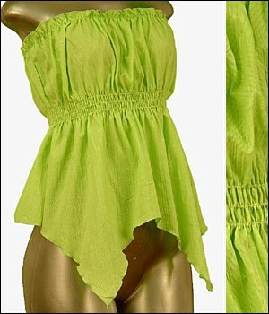 Green Cinched & Flared Tube Top, (S) Small ~ Just7even