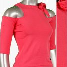 Pink Cut Out 3/4 Sleeve Tee (size Small) by Ashley by 26 International Junior's Top ~ Just7even