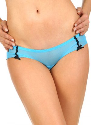 Double Bow Mesh Hipster Panties - Arctic Blue, sz M/6 ~ Just7even