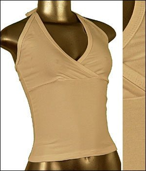 � Fitted Cotton Surplice Neckline Halter Top White sz Large, Juniors Clothing Fashion ~ Just7even