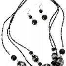 "21"" Triple Strand Beaded Necklace & Drop Earrings Black ~ Just7even"