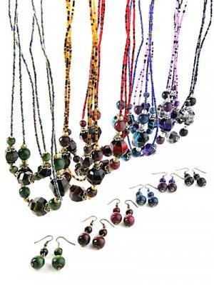 "21"" Triple Strand Beaded Necklace & Drop Earrings Blue ~ Just7even"