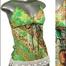 ❤ BEAUTIFUL PAiSLEY & Glitter TUNIC Tank Top Green sz M * Juniors Clothing Fashion * Just7even