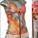 ❤BEAUTIFUL PAiSLEY & Glitter TUNIC Tank Top Orange sz S * Juniors Clothing Fashion * Just7even