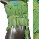 ❤ Sexy Sheer Midriff Ruffle Tiered Tube Top Green sz L * Juniors Clothing Fashion * Just7even