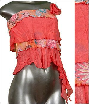 � Sexy Sheer Midriff Ruffle Tiered Tube Top Pink sz Med � Juniors Clothing Fashion � Just7even