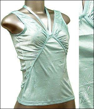 Pretty Satiny String V-Neck Halter/Tank Top Blue size L � Juniors Clothing Fashion � Just7even