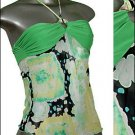 ❤Green Print SEXY STRING HALTER Top w Gold Glitter sz S * Juniors Clothing Fashion * Just7even