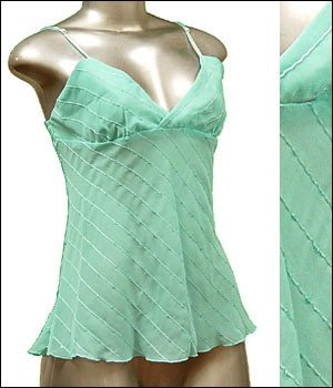 Sexy & Classy Sheer Tunic Tank Top w Sequins Blue sz M � Spaghetti Strap Suplice � Just7even