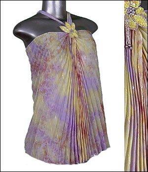 Gorgeous Pleated Women's Tunic Halter Top Purple sz L � Beautiful Dressy Sheer � Just7even