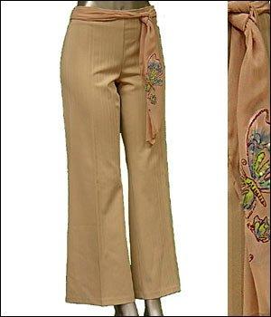 Pinstripe Dress Pants w/ Butterfly Sash Belt Tan sz L � Juniors Clothing Fashion � Just7even