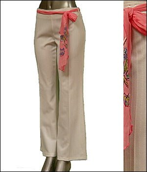 Pinstripe Dress Pants w Butterfly Sash Belt White sz 1X � Juniors Clothing Fashion � Just7even